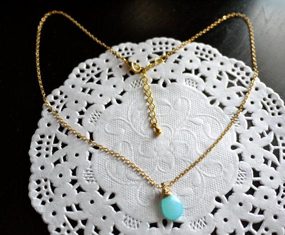 Seafoam zierliche Goldkette Gold Münze von StardustTrinketBox