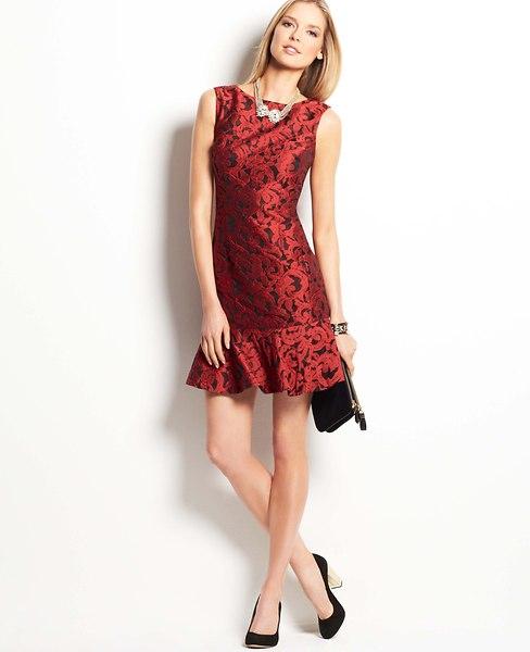 Floral Jacquard Flounce Dress | Ann Taylor