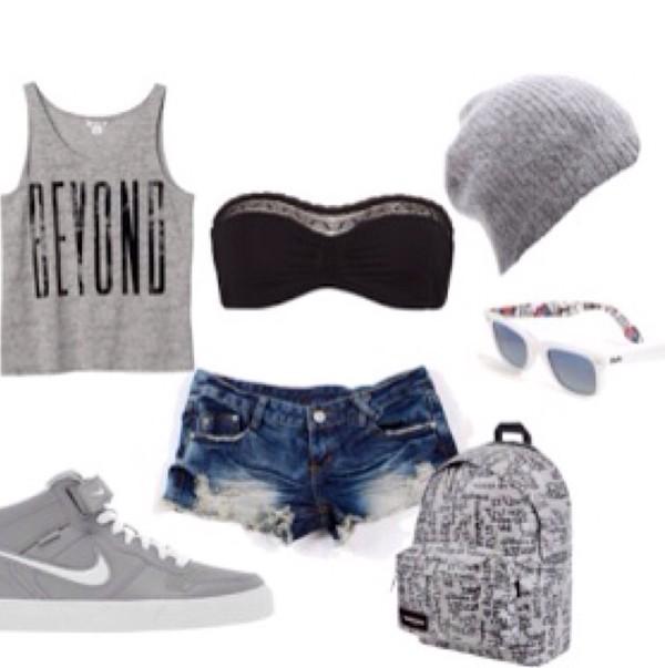 grey beanie black bandeau gray tanktop gray shoes blue jeans shorts