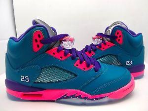 440892 307 Girls Youth Air Jordan Retro 5 GS Youth Teal Pink Purple 3 5 7   eBay