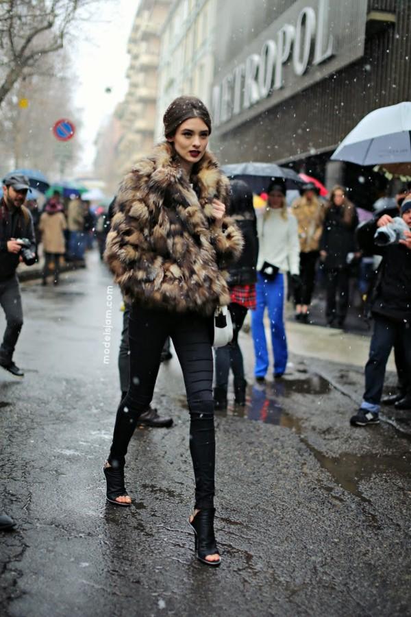 coat fur coat chanel model jacket fur red lipstick snow jeans heels shoes black pants winter outfits cut out ankle boots