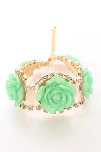 Mint Rhinestone Studded Carved Rose Bracelet