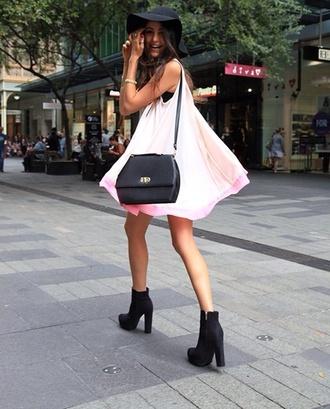 shoes black suede boots boots little black boots dress pink hat jewels
