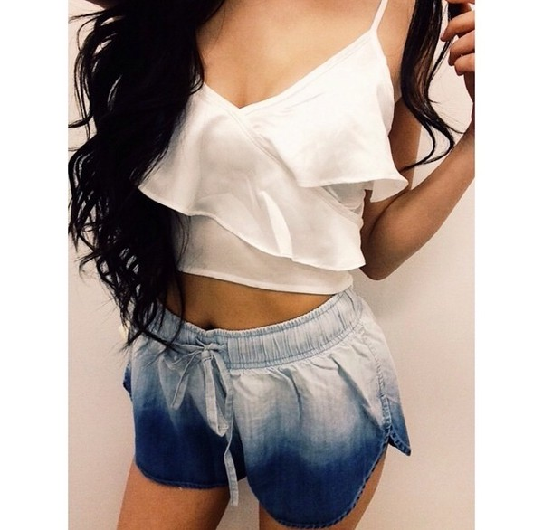 jeans acid wash dolphin shorts ombre top