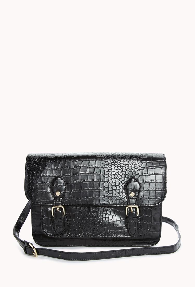 Luxe Faux Croc Satchel | FOREVER21 - 1000074155