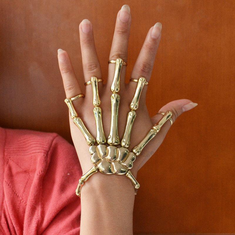 Fashion Golden Halloween Hand Skeleton Elastic Bracelet Bangle Rings RCH Cool | eBay