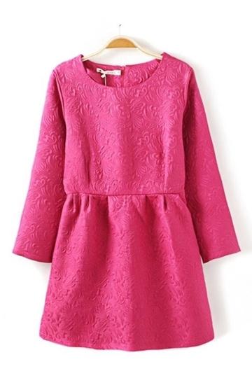 Elegant Round-neck Peach Frilly Dress [FXBI00370] - PersunMall.com