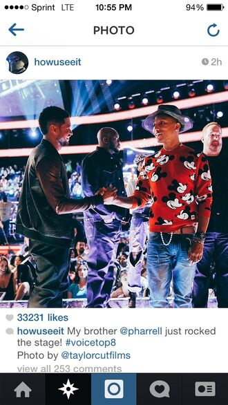sweater pharrell williams the voice mickey mouse sweater menswear