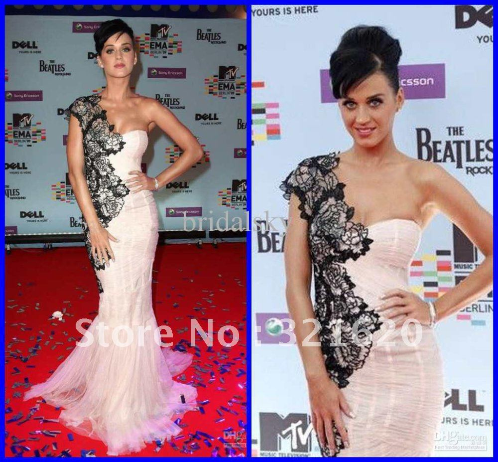 KATY PERRY Embroidery Pleated One Shoulder Mermaid Floor length Celebrity Dresses Evening Gowns 17-in Celebrity-Inspired Dresses from Apparel & Accessories on Aliexpress.com