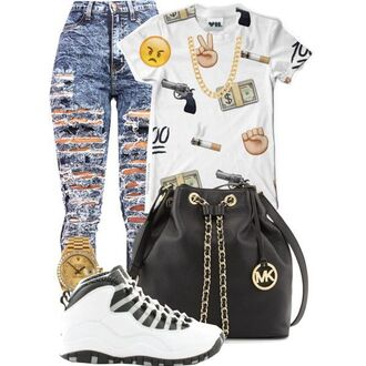 shoes outfit young funny quote shirt jeans bag