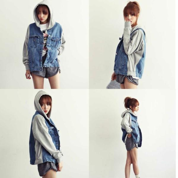 jacket i4out fashion coat denim denim jacket swag hoodie denim hoodie clothes clothes look lookbook denim jacket with hood