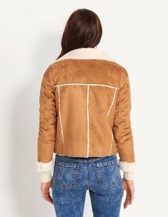 jacket suede faux suede 70s style sheepskin caramel shearling retro