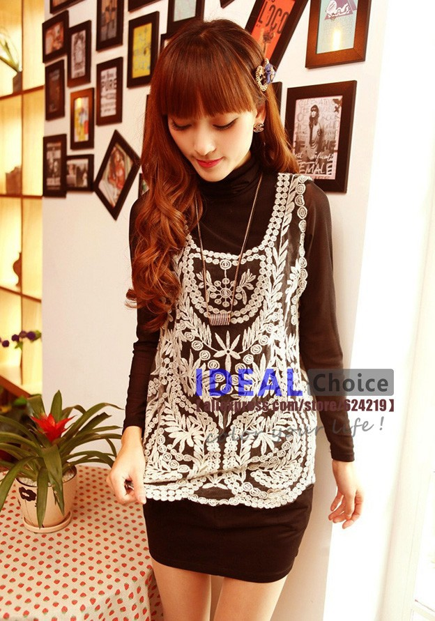 Fashion 2013 Women's Blouses Plus Size Gauze Embroidery Crochet Vest Tee Tops Lace Shirts Solid Hollow Out Blouse For Women H111-in Blouses & Shirts from Apparel & Accessories on Aliexpress.com