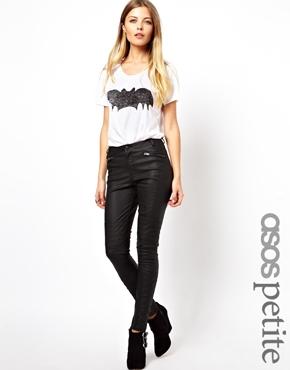 ASOS Petite | ASOS PETITE Exclusive Leather Look Biker Skinny Trousers at ASOS