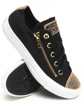 Converse - Women Black Chuck Taylor Sparkle Toe Cap All Star Double Zip Sneakers