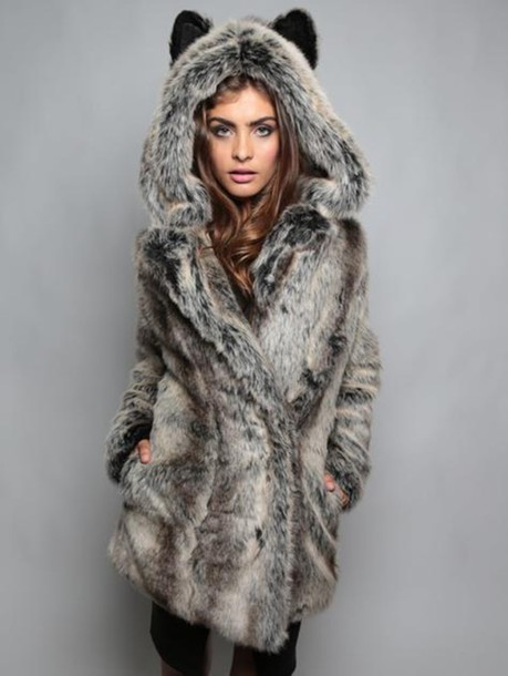 coat fluffy warm cozy grey sweater wolf