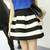 Women Stripe High Waist Splicing Color Stitching Texture Short Bubble Skirt