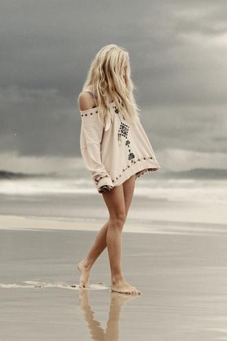 sweater loose fit sweater shirt beach boho cream tribal pattern oversized bohemian oversized white sweater