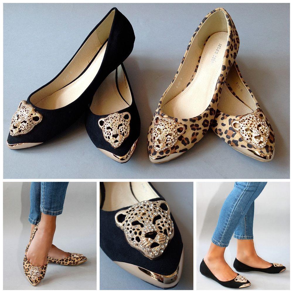 "Tiger Ballet Flats Pointed Toe ""Betsey"" Black Camel Leopard Gold Metal Toe | eBay"