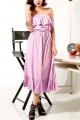 Flouncing High Waist Calf Length Dress - OASAP.com