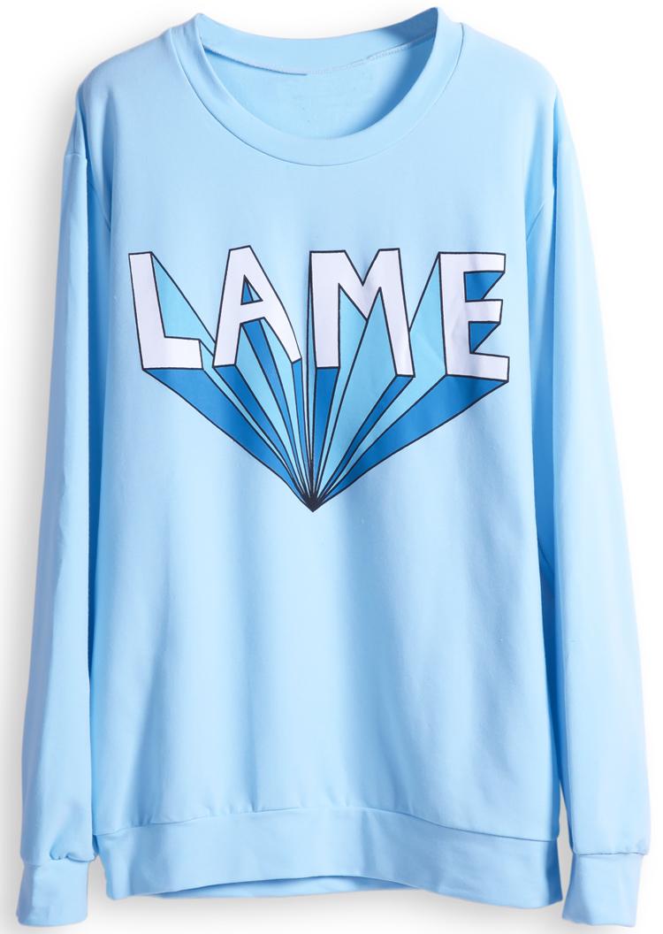 Blue Long Sleeve LAME Print Casual Sweatshirt - Sheinside.com