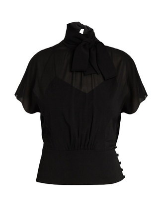 blouse fashion clothes redvalentino tie-neck silk-blend chiffon blouse