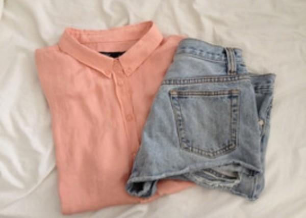 blouse peach collar cool shorts