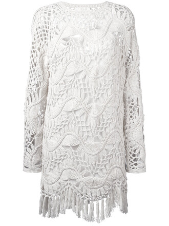 dress tassel women nude cotton silk crochet
