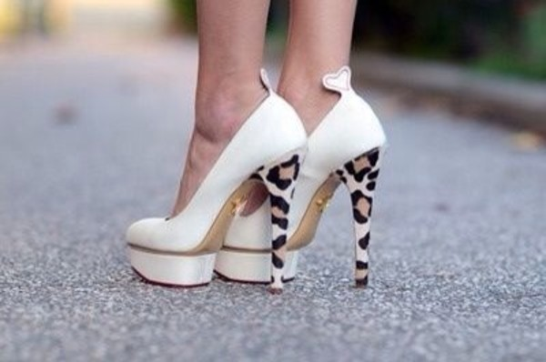 shoes white pumps with leopard heel same