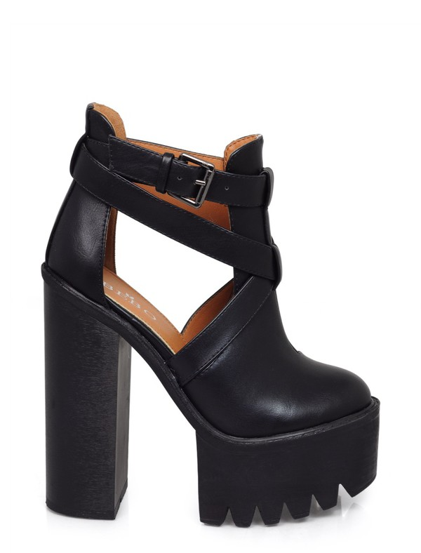 shoes cut-out platform shoes heels chunky heels black
