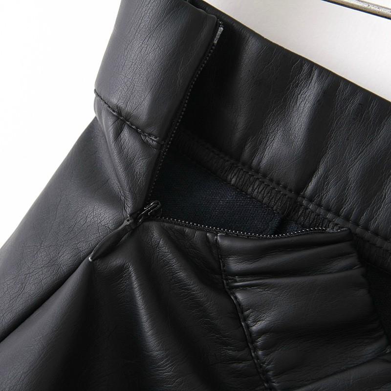 Black Zipper Flare Leather Skirt - Sheinside.com