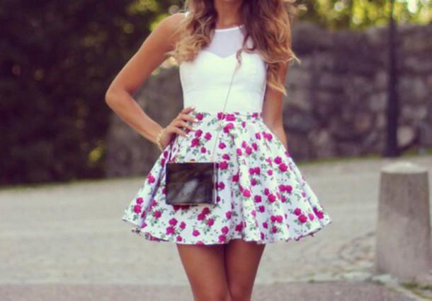 dress flowers white dress bag
