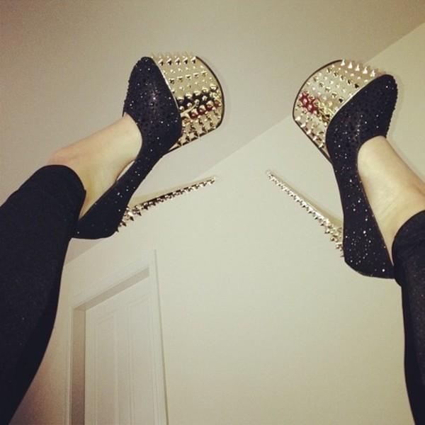 shoes shoes high heels glitter studs gold metallic
