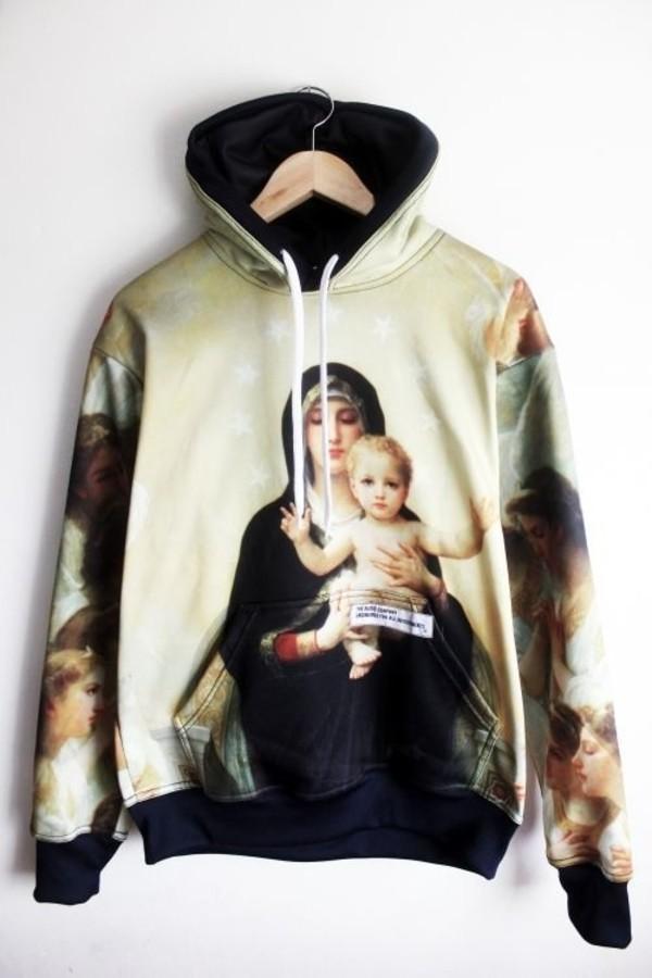 sweater jesus hoodie religious pyrex hood by air street jumper sweatshirt sweater paris art cool dope urban punk chic chic muse