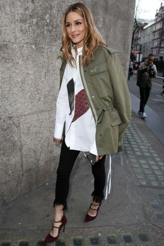shirt jacket pants olivia palermo blogger london fashion week 2017 fashion week 2017 streetstyle