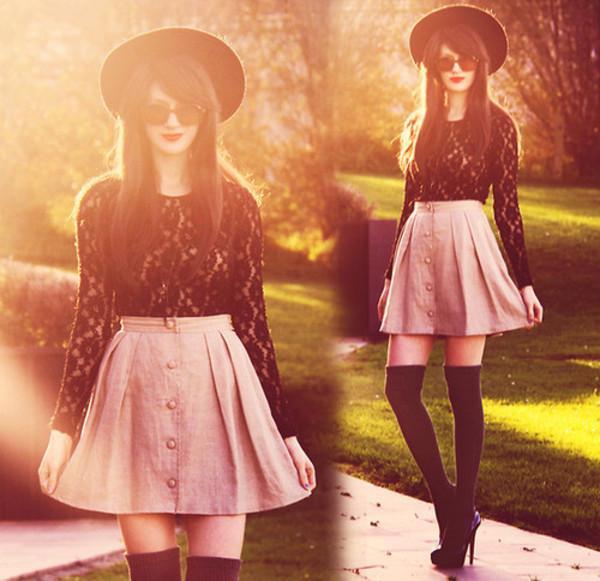 shirt fall outfits hat skirt