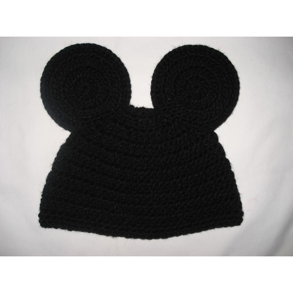 Custom crochet Mickey Mouse ears beanie hat photo prop - Polyvore
