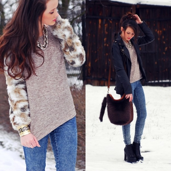 fur sleeves sweater jeans