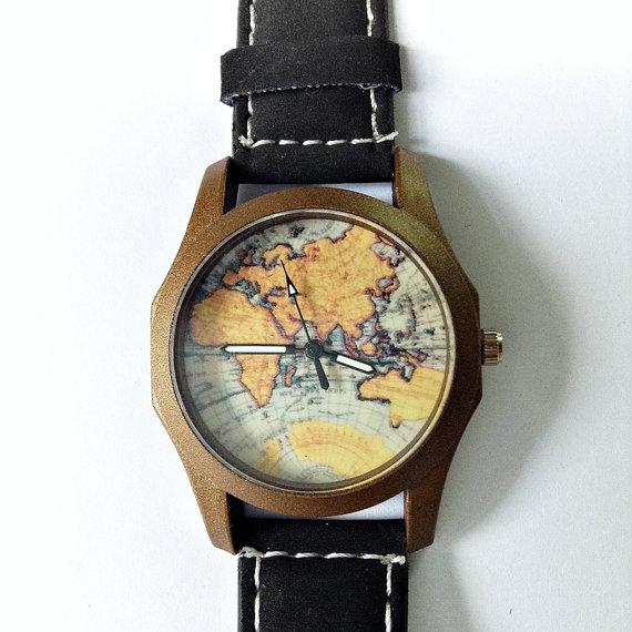Map Watch Vintage Style Leather Watch Women Men by FreeForme