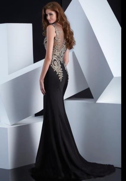 dress prom dress black dress black elegant gown formal prom homecoming dress classy dressofgirl