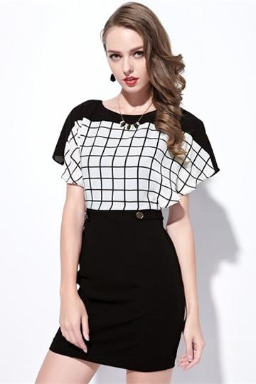 Moonbasa Classic Black and White Check Flounce Dress [FXBI00440]- US$ 46.99 - PersunMall.com