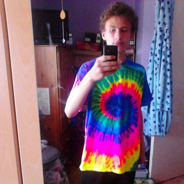 rainbow tie dye t-shirt t-shirt top grey tank top starbucks coffee logo