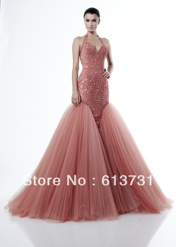 2013 Zuhair Murad Evening Gowns Halter V Neck Beading A Line Tulle Puffy Coral Crazy Prom Dresses  ZH76-in Prom Dresses from Apparel & Accessories on Aliexpress.com