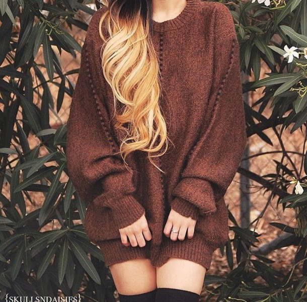 sweater style knee high socks oversized sweater knitted sweater sweater dress brown winter swag knitted dress