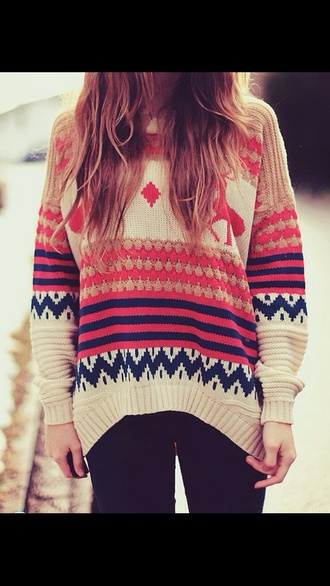 jumper pullover bright pink winter outfits warm cozy knited love the colours long beige christmas sweater