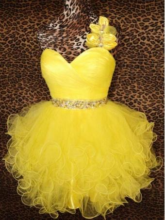 Yellow Cocktail Short Ruffled Prom Dress/Homecoming Dress [D0030] - $162.99 : 24inshop
