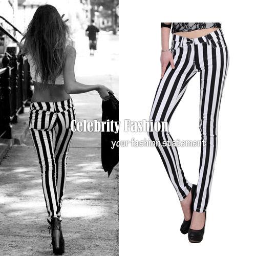 JN27 Celebrity Style Trendy Monochrome Vertical Striped Skinny Jeans Pants   eBay
