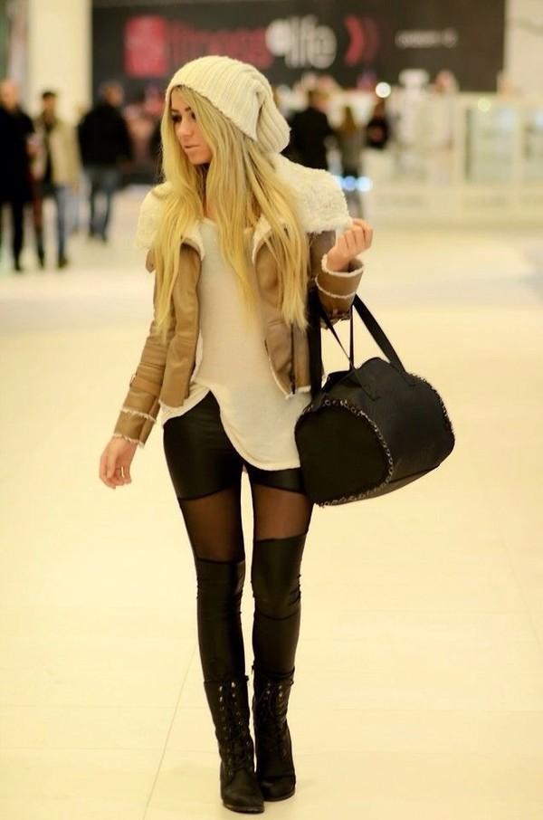 pants black leather tights skinny skinny pants trouser pants coat hat
