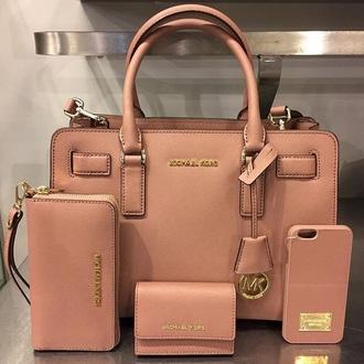 bag nude michael kors bag tote bag pink bag dusty pink pink handbag