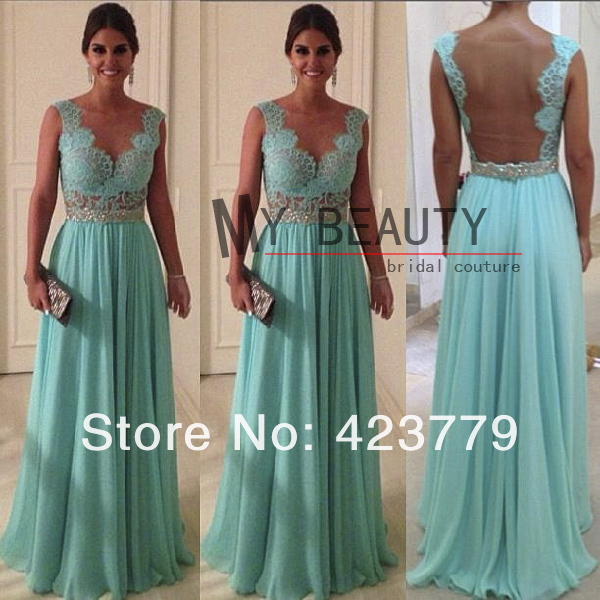 Aliexpress.com : Buy Sexy Style A line Scalloped Nude Back Beaded Waist Mint Green Lace Evening Dresses 2013 Long Chiffon WD0224 from Reliable dress new suppliers on 27 Dress